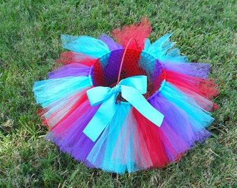 Mermaid Tutu Basket with Red Purple Aqua Tulle and Matching Bow - Easter Basket - Birthday Center Piece