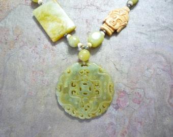 "Necklace, Buddha, Jade, Bone, Handmade, Green, 18"" long"