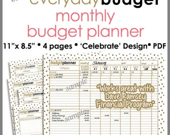 Gold & Black Celebration - Monthly Budget Tracker/Planner Printable Worksheet -  8.5 x 11 inch - PB1505
