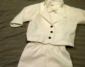 Baby Boy Baptism Outfit, Christening, Blessing, White Outfit, Suit Jacket, Pants, Faux Cardigan Onesie and Hat