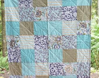 Blue Baby Girl Quilt, Toddler Quilt, Riley Blake Modern Baby Quilt