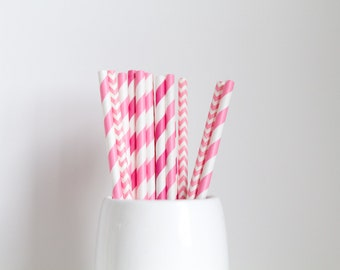 All Pink Mix Paper Straws
