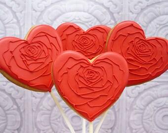 Decorated Cookie Pops - Rose Hearts - Valentine - 1 DOZEN