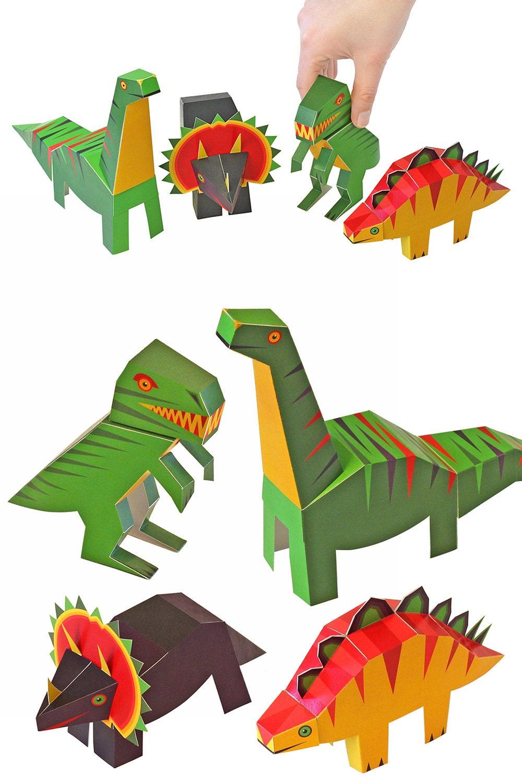 Как сделать бумажных динозавров