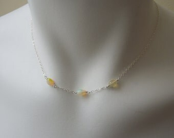 Gemstone Necklace: Ethiopian Opals - Delicate Sterling Silver Chain- October Birthstone