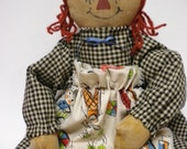 Primitive Annie Dolls, Raggedy Annie Style Dolls, Painted Rag Dolls, Old Fashion Folk Art Dolls