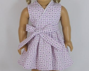 Lavender gingham dress with sash for American Girl Doll