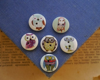12 pcs Painted Owl Wood Buttons 18mm (WB2240)