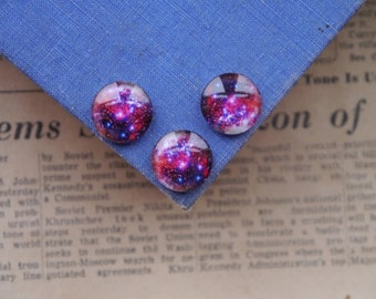 SALE 6pc Galaxy Stars Pink Blue Black 16mm Blue Red White (GCB2382)