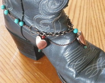 Turquoise & Copper Hearts Boot Bracelet-'Hearts Aflutter' for Western or Dress Boots. Makes a Great Sweetheart Gift! FREE U.S. Shipping
