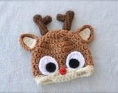 Crochet Reindeer Baby Hat