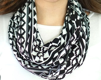 Black and White Aztec Tribal Print Infinity Scarf