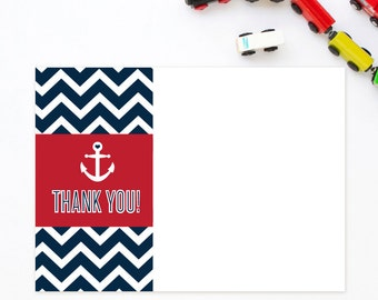 Anchor Thank You Note - Nautical Thank you note - Chevron thank you note - Baby Shower - Printable Thank You note - Note Card - Ellison Reed