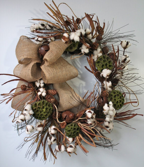 Indoor Wreaths Home Decorating: Items Similar To Primitive Cotton Boll Wreath, Raw Cotton