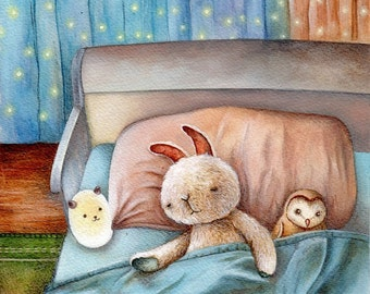 Nursery Art Print, Good Night Bunny
