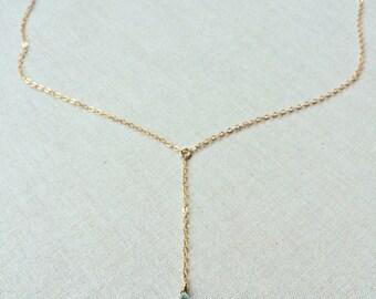 Gold Lariat Gemstone Necklace, Birthstone Necklace, Birthstone Y Necklace, Layering Necklace, Personalized Birthstone Necklace