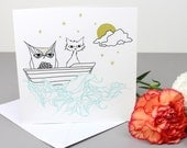 40% SALE - Owl & The Pussycat Greetings Card