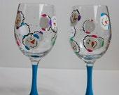 Hand Painted Wine Glasses - Snowmen Wine Glasses Set of 2 - Holiday Glasses