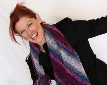 Purple and grey infinity scarf winter fashion, Nephele, vegan friendly, ready to ship