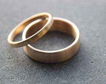 Wedding Ring Set: 9ct Yellow Gold Wedding Band Set, 2mm Womens Ring, 5mm Mens Band, Brushed Finish, Custom Sizes