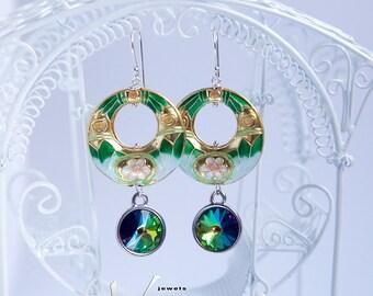 Dangle modern statement earrings with green gold cloisonne, sterling silver hooks, Swarovski vitrail peacock crystals, statement earrings