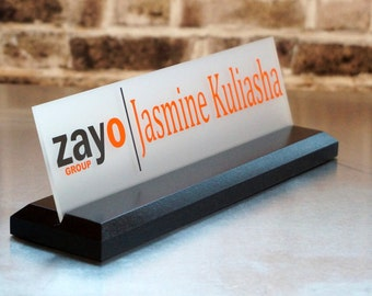 Desk Name Plate with LOGO and 2 Colors Great Professional Wood Sign Personalized Gift 10 x 2.5