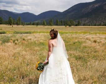 Drop veil with satin trim waltz length drop veil circular veil bridal drop veil veil with satin ribbon blusher veil