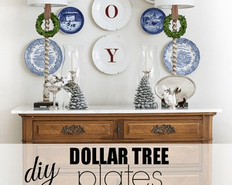 JOY Christmas Vinyl Decal. Great on plates, on your mantle or front door.
