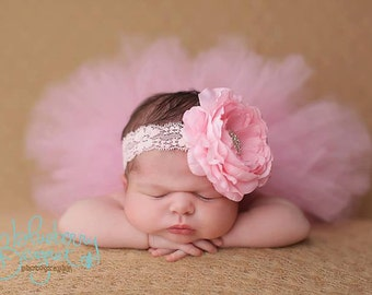Tutu and Headband Set.  Pink Tutu Set.  Newborn Photo Prop.  Birthday Tutu.  Pageant Tutu.  Flower Girl Tutu.  Baby Shower Gift. Infant Tutu