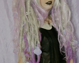 Winter silver and lilac  dread wig