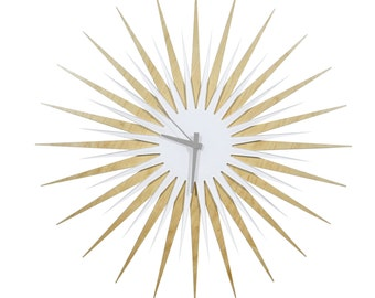 Midcentury Modern Starburst Clock 'Maple/White RF Atomic' Colorful Wood/Acrylic Contemporary Sunburst Wall Clock - Inspired by George Nelson