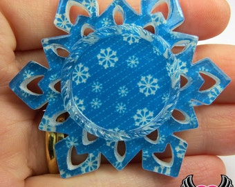 4 pc SNOWFLAKE Print STAR CAMEO SeTTING Fits 25mm Round Cameos, Resin Cameo Setting, Blank Frame, Bezel Pendant