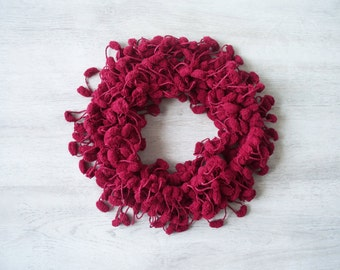 SALE! Maroon Pompom Scarf - Soft Scarf - Cocoon, Mulberry Yarn - Autumn Accessories - Chunky
