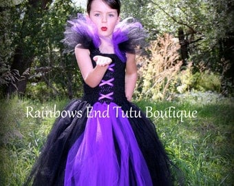 Maleficent Tutu Dress, Gothic tutu Dress size 12 months- girls size 8