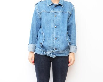 Vintage LEE denim blue jacket / jean 80s women boyfriend fit