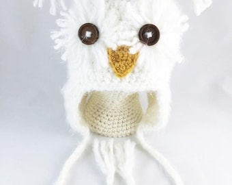 Soft White Snow Owl Hat - Toddler - Child - Adult Size