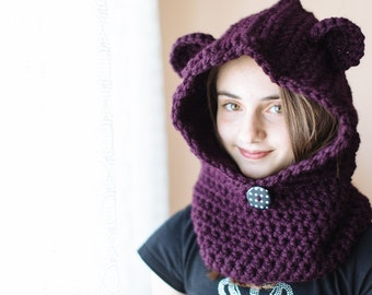 Hooded bear cowl with ears in chunky wool, Size 7-9 years old - Pick your color!