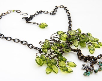 Green Tree of Life Necklace with glass leaves, Green Willow Tree Necklace with fairy, Wire Tree Necklace, Whimsical Necklace, Tree Jewelry