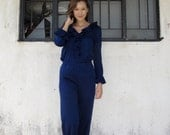 Vintage Two Piece Pant Suit/70s/Polyester/Navy/Ruffles/Quirky/Jumpsuit/Playsuit/Pantsuit/Small