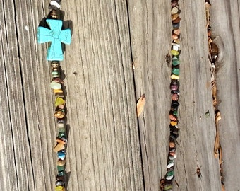 Cross Necklace with multicolor chip beads