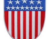 Larger American National Flag United States USA Shield Badge Iron On Applique Patch