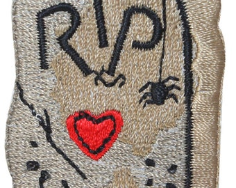 ID #0857B RIP Heart Headstone Cemetery Grave Embroidered Iron On Applique Patch