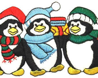 ID #8099 Winter Wear Penguin Trio South Pole Embroidered Iron On Applique Patch
