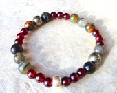 step into love. garnet pyrite labradorite tiger eye gemstone bracelet