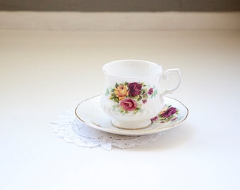 Vintage Tea Cup Royal Minster Fine Bone China Made In England, Yellow and Pink Roses
