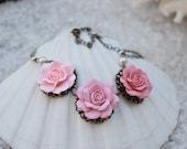 Trio Pastel Pink Rose necklace, Pastel Blush Three Roses Necklace, trio necklace, Bip Necklace