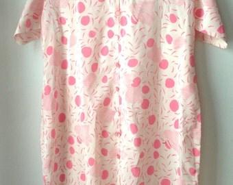 Vintage Night Gown Lightweight //Polka Dot //Pink //Cream// Button Up //Womans Sleepwear //Pretty In Pink