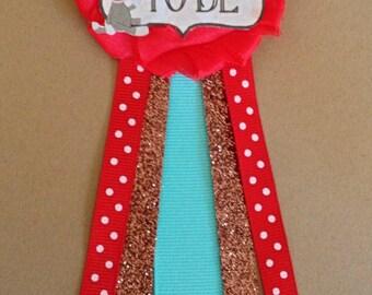 Sock Monkey Baby Shower Mommy-to-be Flower Ribbon Pin Corsage Glitter Rhinestone Mommy Mom New Mom