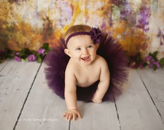 PLUM TUTU SET, Tutu with Burlap Flower Headband, Newborn Tutu, Baby Tutu, Newborn Photography Prop, Photo Prop, Tutus for Children