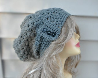 Grey Slouchy Hat, Crochet Slouchy Hat, Slouchy Beanie Hat, Winter Accessories, Womens Accessories Choose your color